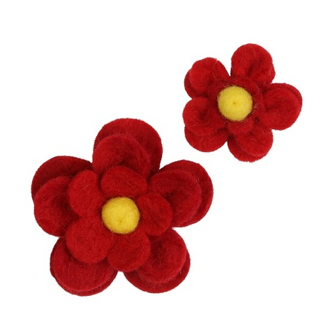 Bloom Dog Collar Flower Accessory - Crimson & Yellow 4