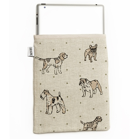 Dogs Linen Tablet Case - Natural