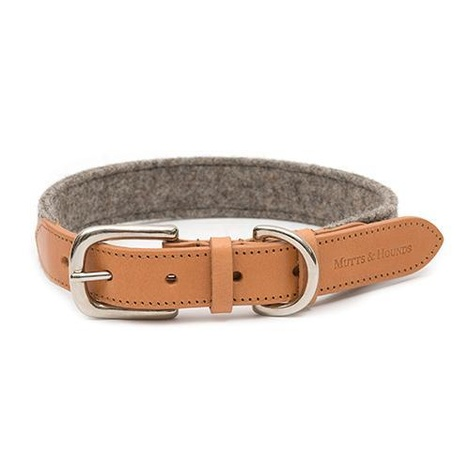 Camello Leather and Grey Tweed Dog Collar