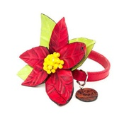SR! Dog Accessories - Red Poinsettia Dog Collar