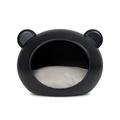 Medium Black Dog Cave with Grey Cushion