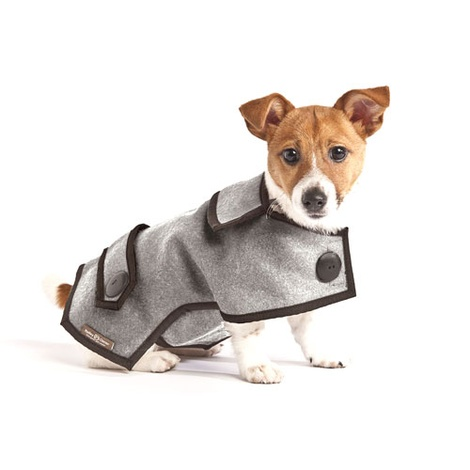 Grey Wool Casual Dog Coat