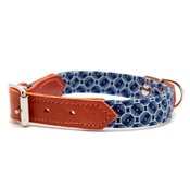 Hiro + Wolf - Shweshswe Navy Circles Dog Collar