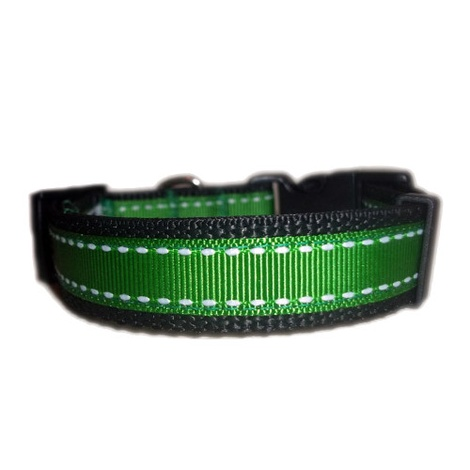 Irish Green Saddle Stitch Dog Collar