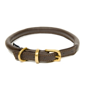 Brown Rolled Leather Dog Collar