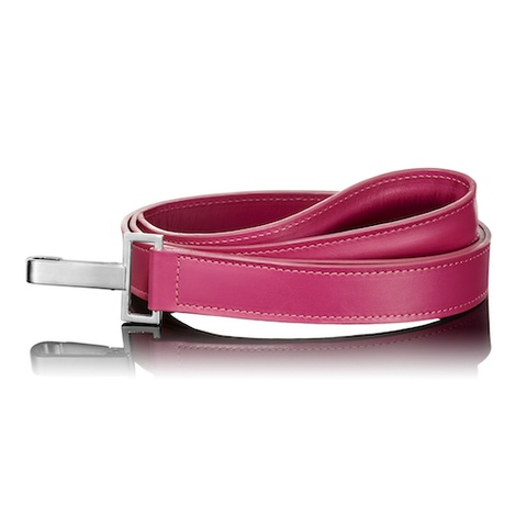 Dark Pink Leather Dog Lead