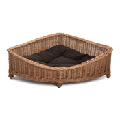 Prestige Wicker - Luxury Wicker Dog Corner Basket with Dark Cushion