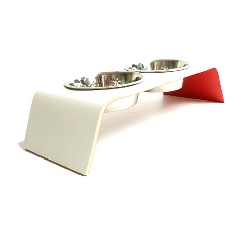 White & Red Raised Dog Bowl Feeder