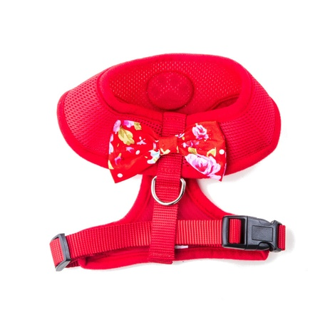 Red Vintage Bow Dog Harness