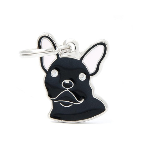 French Bulldog Engraved ID Tag – Black
