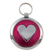 Tagiffany - Shimmer Deep Pink Heart Pet ID Tag
