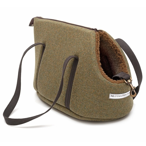 Forest Green Tweed Dog Carrier 2