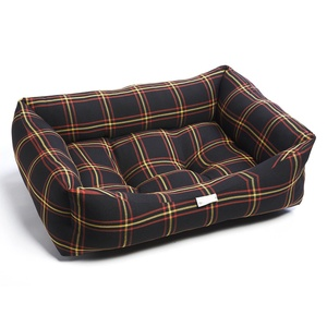 Black & Gold Tartan Dog Bed