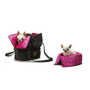 Sommeil et Voyage Dog Carrier Bag – Jet Black & Pink D