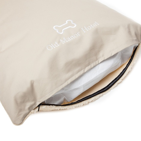 Personalised Cream Sherpa Fleece Dog Bed 5