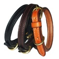 Flat Leather Dog Collar - Black 2