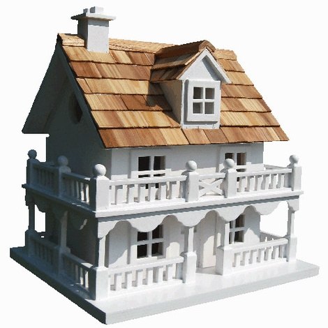 Novelty Cottage Birdhouse - White