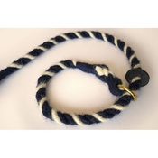 Twool - Rope Slip Lead - Wavy Navy Blue and White
