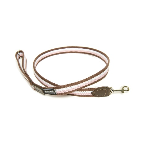 Brown, White & Pink Wide Striped Webbing Lead