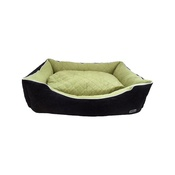 Hem & Boo - Quilted Rectangle Dog Bed - Black & Green