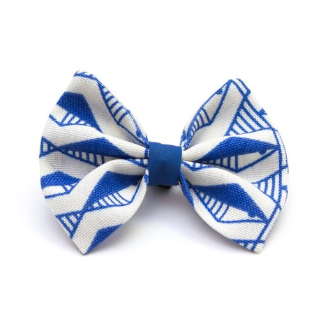 Geo Blue Dog Bow Tie
