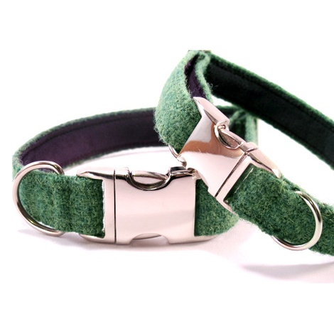 Bright Green Harris Tweed Dog Collar 2