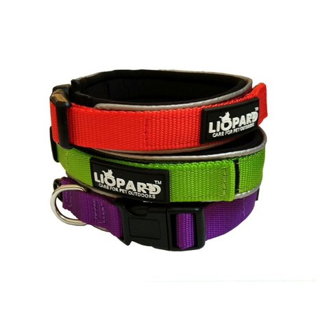 Liopard Padded Nylon Dog Collar – Red 2