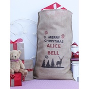 Handcrafted Christmas - Rudolph – Personalised Large Christmas Sack