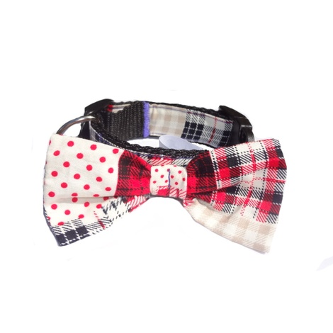 "Patchwork Dog Bow Collar 1"" Width"