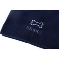 Personalised Navy Bone Dog Blanket - Classic font 2