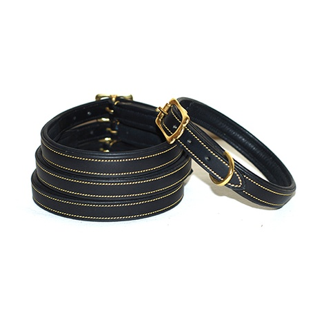Lined & Padded Leather Dog Collar - Black