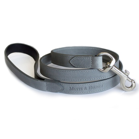 Grey Leather Dog Lead - Pastel Grey