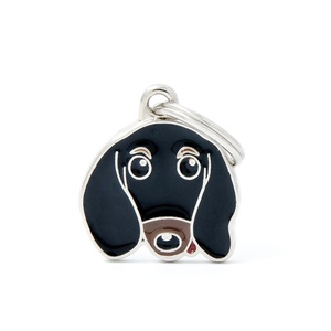 Dachshund Engraved ID Tag – Black