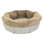 "Happy Pet - Bailey Round Bed 24"" - Grey Check & Brown"
