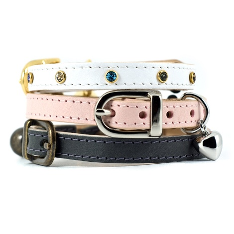 Baby Pink Leather Cat Collar with Heart Charm 2