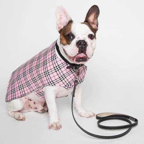 Personalised Pink Check Dog Coat