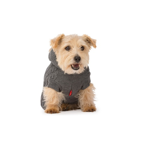 Cable Knit Dog Hoody – Grey 3