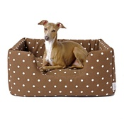 Charley Chau - Deeply Dishy Luxury Dog Bed - Dotty Chocolate