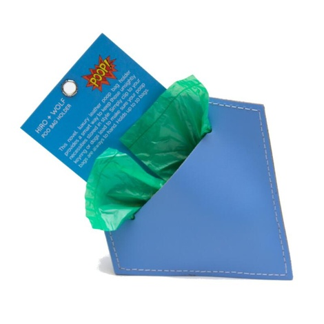 Leather Diamond Poo Pouch – Botanical Blue 4