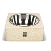 Diva Dog - Cream Crocodile Leather Square Feeding Bowl