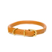 Dogs & Horses - Tan Rolled Leather Dog Collar