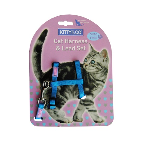 Blue Snag Free Cat Harness & Lead Set