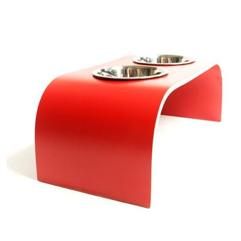 Red Raised Dog Bowl Holder