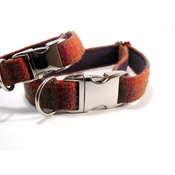 My McDawg - Orange & Olive Harris Tweed Dog Collar