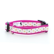 "Pet Pooch Boutique - Multi Dot Dog Collar - Pink 1"" Width"