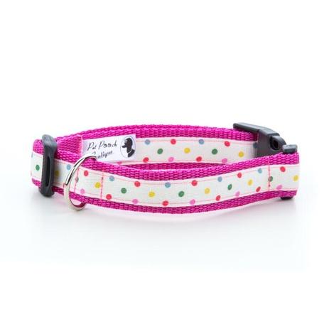 "Multi Dot Dog Collar - Pink 1"" Width"