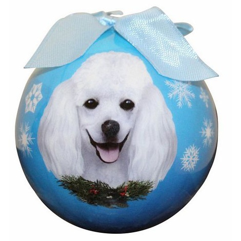 White Poodle Christmas Bauble 2
