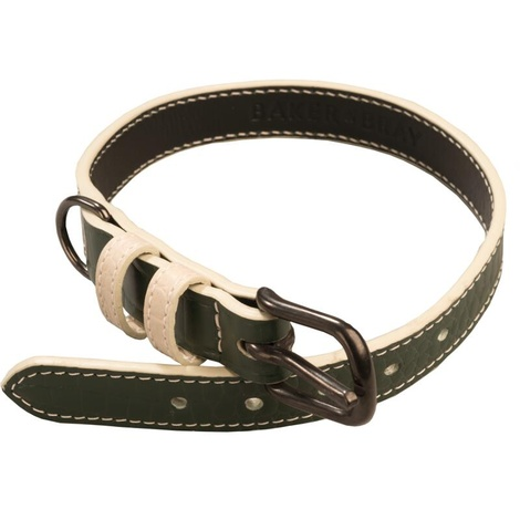 Paris Croc Leather Dog Collar – Forest Green & Stone