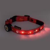 PetsGlow - Paws & Bones LED Dog Collar - Red