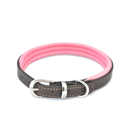 D&H Colours Leather Collar - Pink
